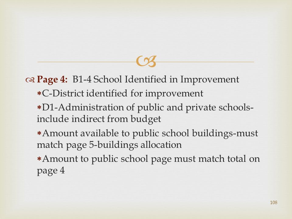 Page 4: B1-4 School Identified in Improvement C-District identified for improvement D1-Administration of public and private schools- include indirect from budget Amount available to public school buildings-must match page 5-buildings allocation Amount to public school page must match total on page 4 108