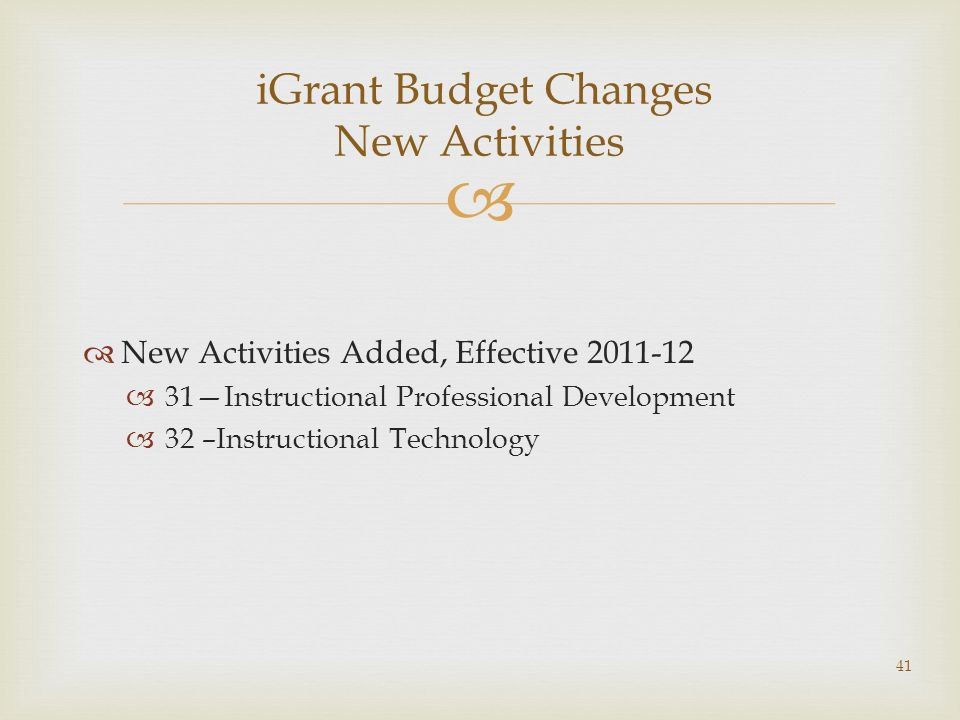 New Activities Added, Effective 2011-12 31Instructional Professional Development 32 –Instructional Technology iGrant Budget Changes New Activities 41