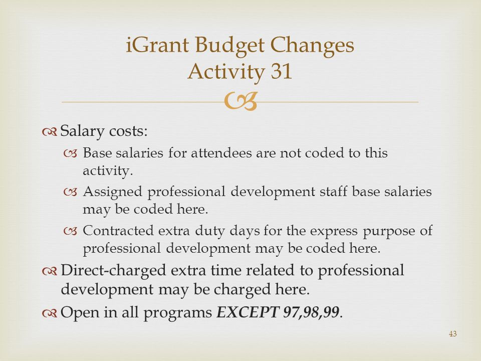 Salary costs: Base salaries for attendees are not coded to this activity.