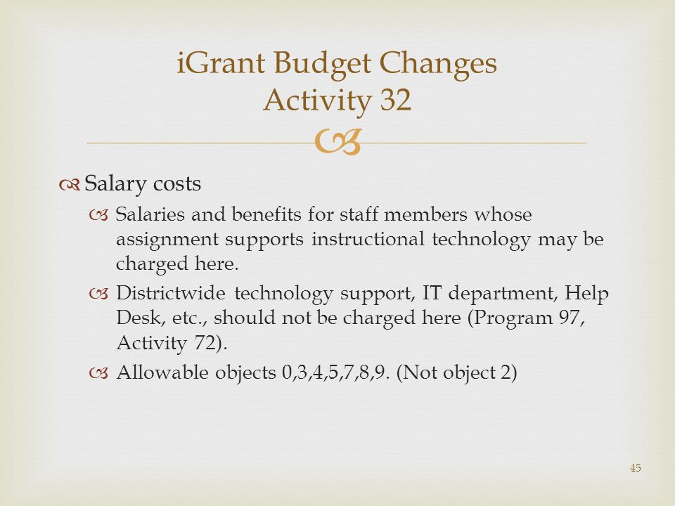 Salary costs Salaries and benefits for staff members whose assignment supports instructional technology may be charged here.