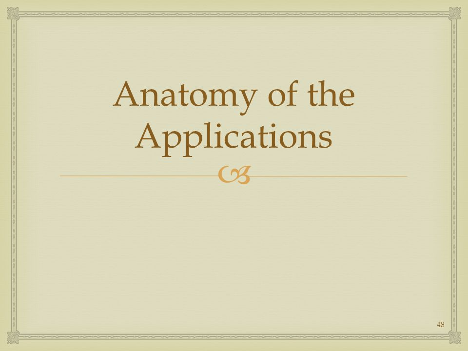 Anatomy of the Applications 48
