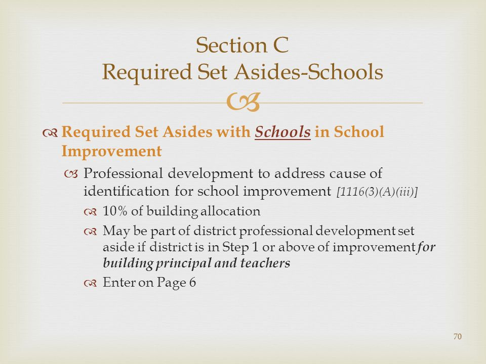 Section C Required Set Asides-Schools Required Set Asides with Schools in School Improvement Professional development to address cause of identification for school improvement [1116(3)(A)(iii)] 10% of building allocation May be part of district professional development set aside if district is in Step 1 or above of improvement for building principal and teachers Enter on Page 6 70