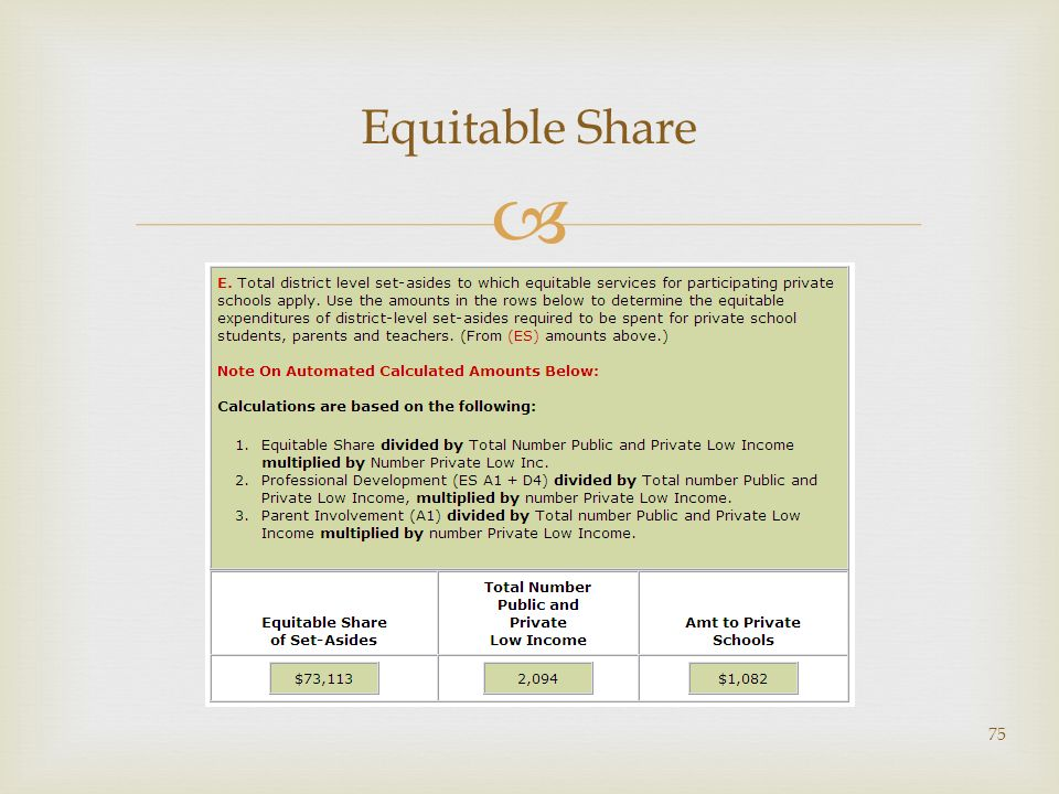 75 Equitable Share