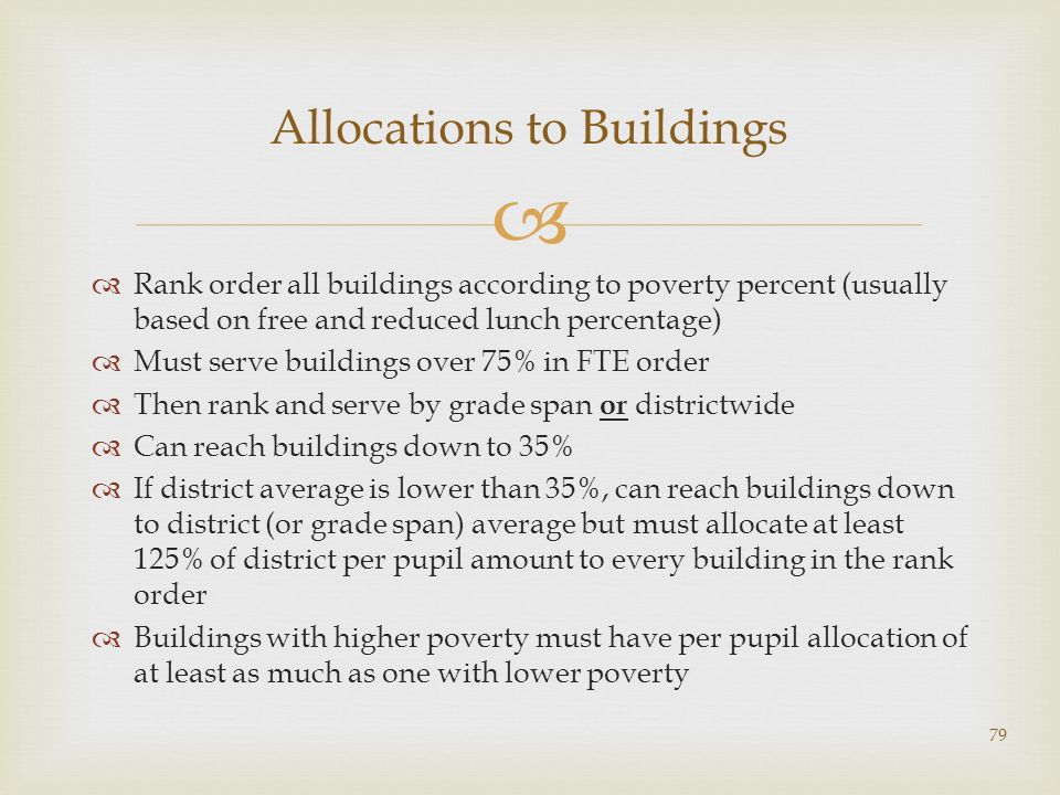 Allocations to Buildings Rank order all buildings according to poverty percent (usually based on free and reduced lunch percentage) Must serve buildings over 75% in FTE order Then rank and serve by grade span or districtwide Can reach buildings down to 35% If district average is lower than 35%, can reach buildings down to district (or grade span) average but must allocate at least 125% of district per pupil amount to every building in the rank order Buildings with higher poverty must have per pupil allocation of at least as much as one with lower poverty 79