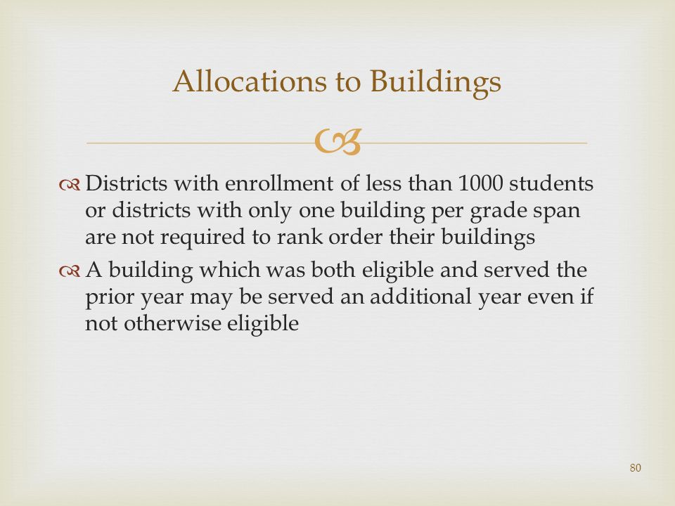 Allocations to Buildings Districts with enrollment of less than 1000 students or districts with only one building per grade span are not required to rank order their buildings A building which was both eligible and served the prior year may be served an additional year even if not otherwise eligible 80