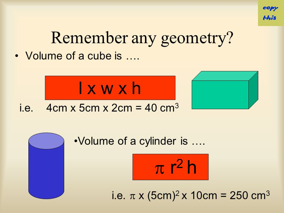 OR… Volume can be measured in cubic meters (m 3 ) centimeters (cm 3 ), …..etc.