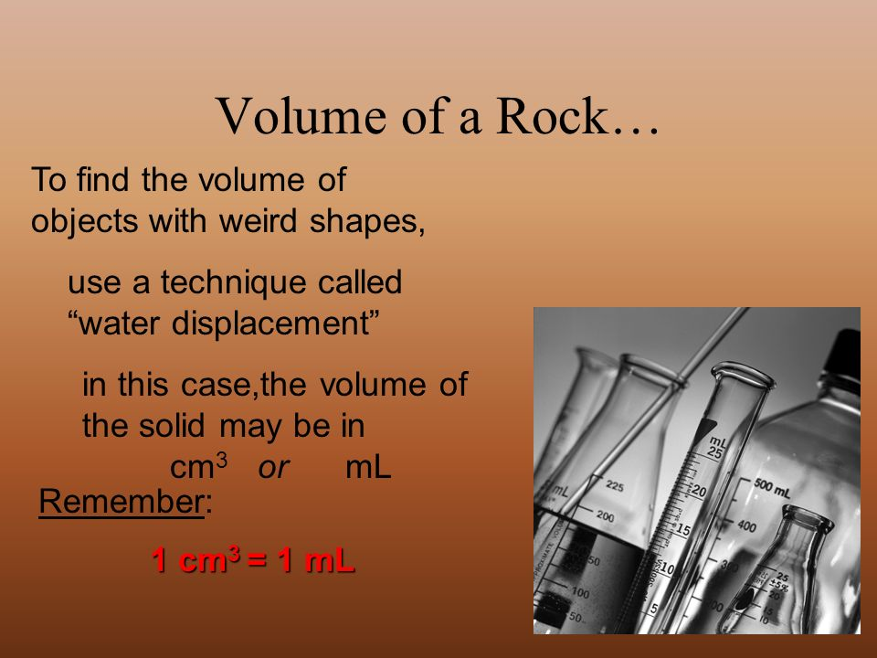 Typically, mL or L are used to describe the volume of a liquid...