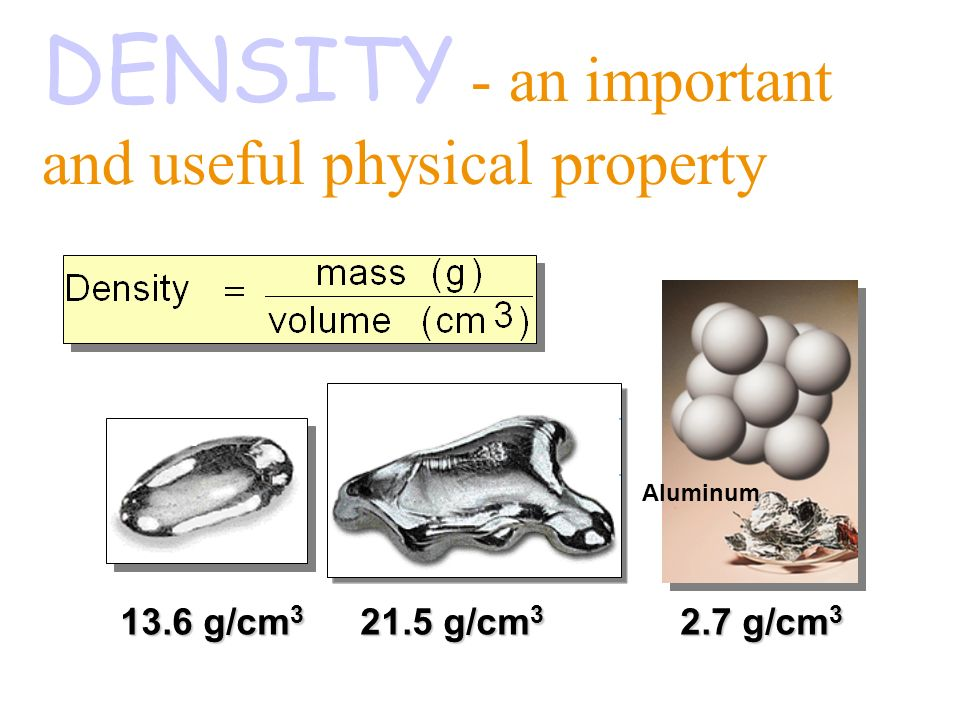 Density of Gold: 19.30 g/mL Silver: 10.50 g/mL Aluminum: 2.70 g/mL Atoms of some elements are more dense than others.