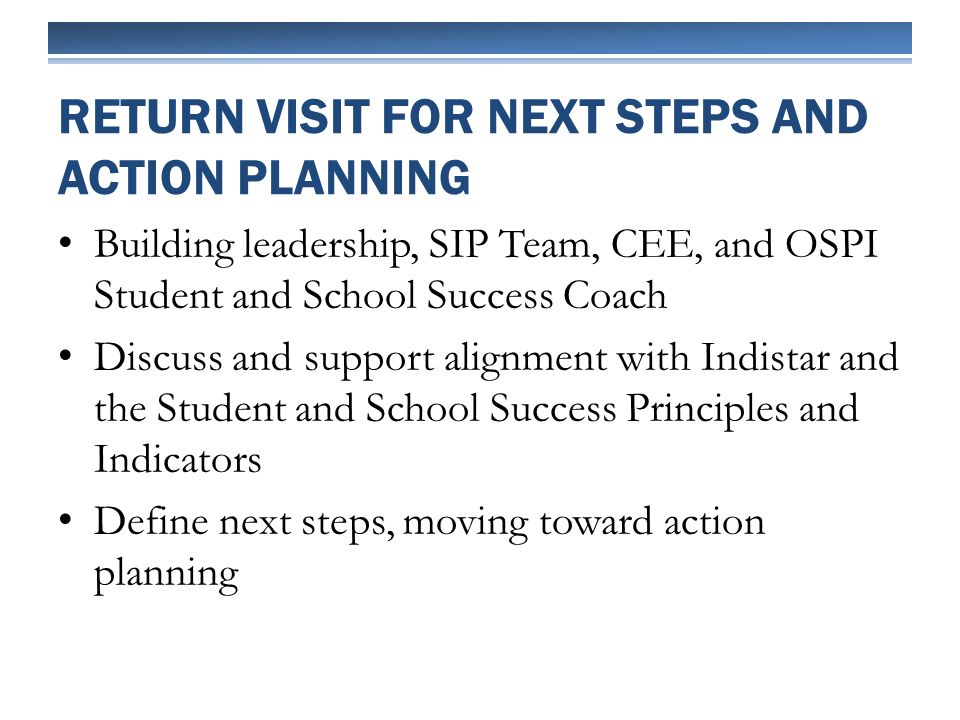 Building leadership, SIP Team, CEE, and OSPI Student and School Success Coach Discuss and support alignment with Indistar and the Student and School Success Principles and Indicators Define next steps, moving toward action planning RETURN VISIT FOR NEXT STEPS AND ACTION PLANNING