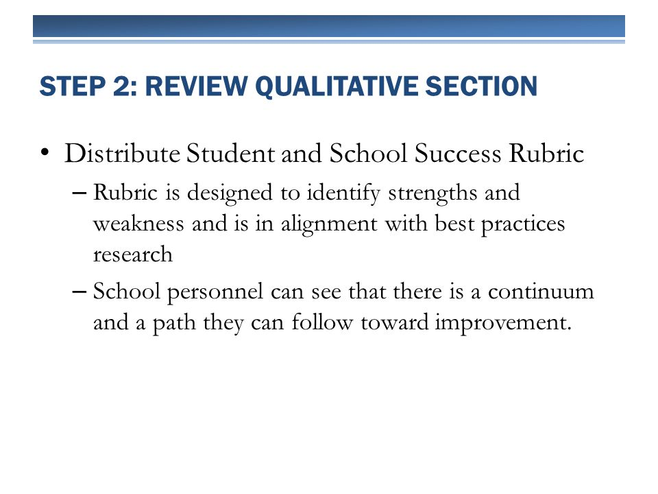 Distribute Student and School Success Rubric – Rubric is designed to identify strengths and weakness and is in alignment with best practices research – School personnel can see that there is a continuum and a path they can follow toward improvement.