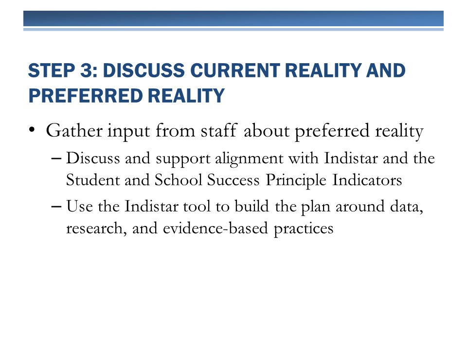 Gather input from staff about preferred reality – Discuss and support alignment with Indistar and the Student and School Success Principle Indicators – Use the Indistar tool to build the plan around data, research, and evidence-based practices STEP 3: DISCUSS CURRENT REALITY AND PREFERRED REALITY