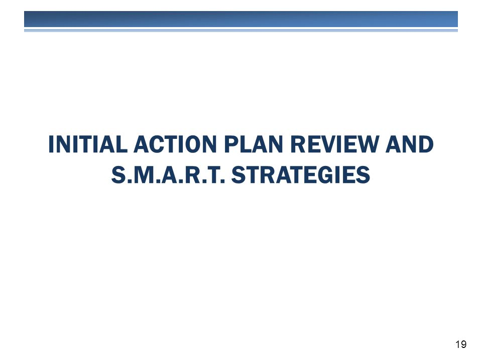 INITIAL ACTION PLAN REVIEW AND S.M.A.R.T. STRATEGIES 19