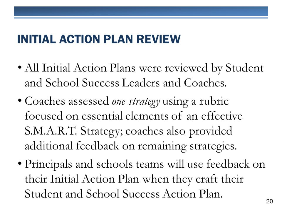All Initial Action Plans were reviewed by Student and School Success Leaders and Coaches.