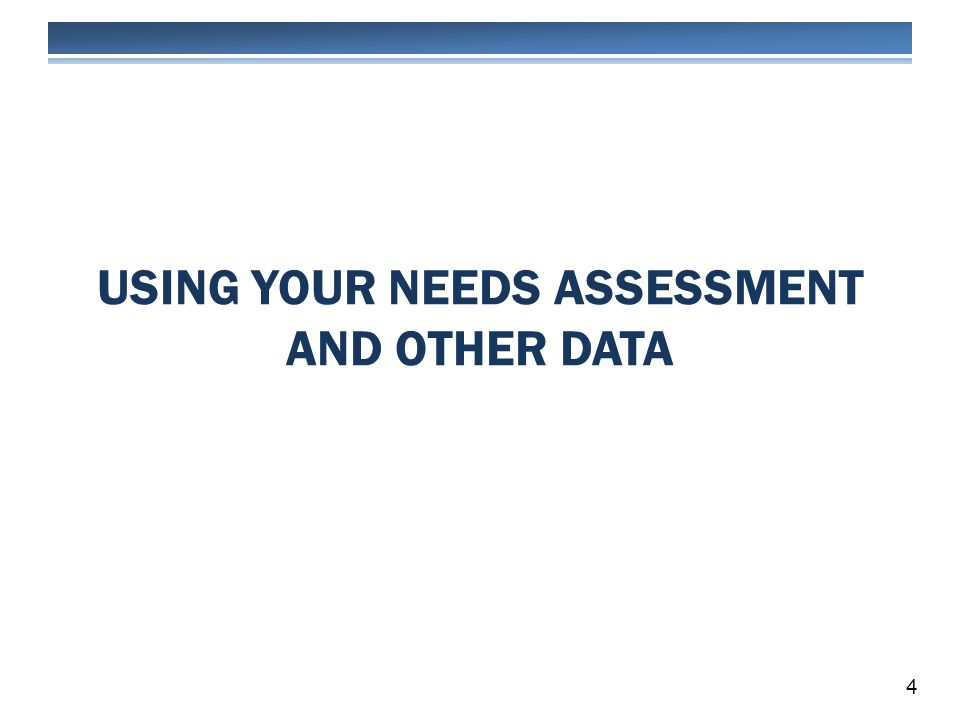 USING YOUR NEEDS ASSESSMENT AND OTHER DATA 4