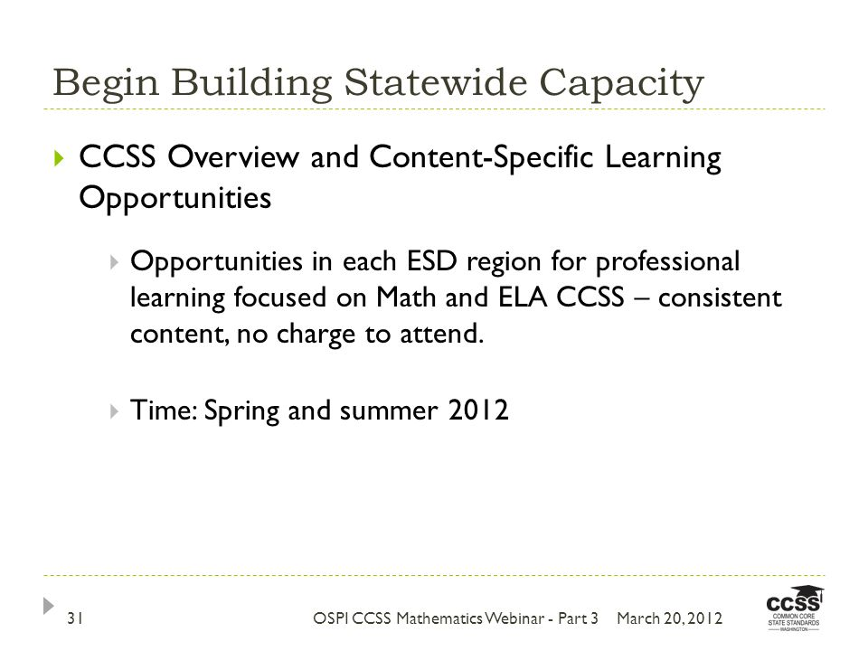 Begin Building Statewide Capacity March 20, 201231 CCSS Overview and Content-Specific Learning Opportunities Opportunities in each ESD region for professional learning focused on Math and ELA CCSS – consistent content, no charge to attend.