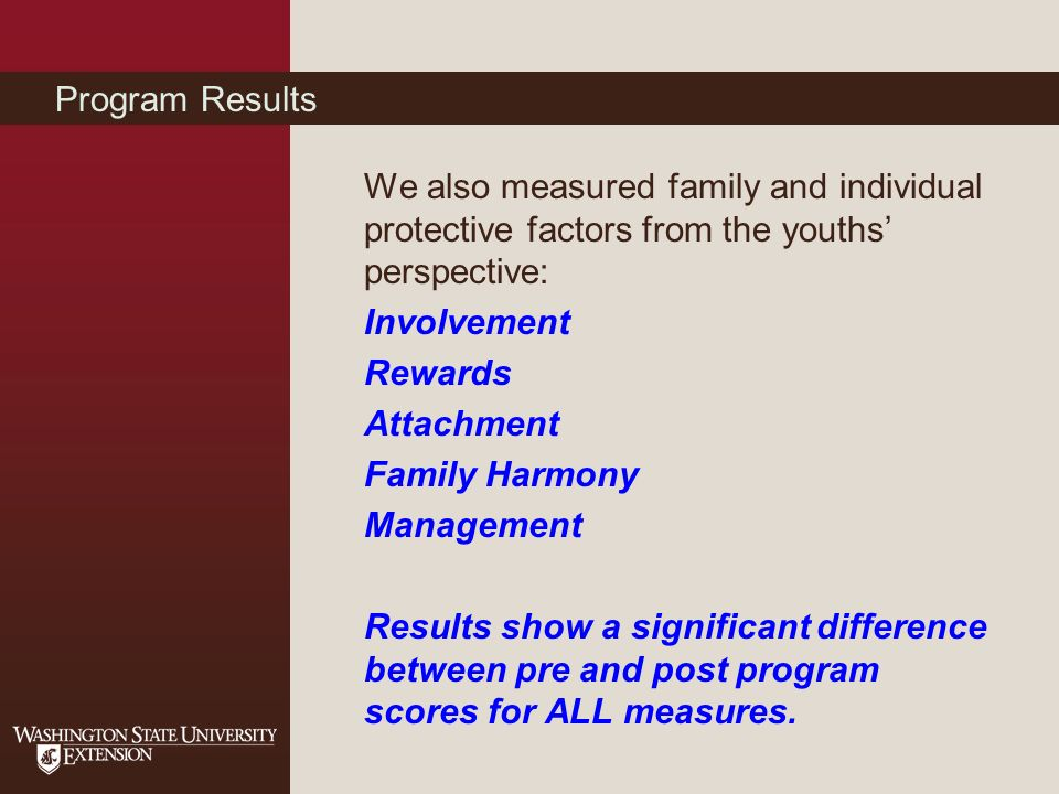 Program Results We also measured family and individual protective factors from the youths perspective: Involvement Rewards Attachment Family Harmony Management Results show a significant difference between pre and post program scores for ALL measures.