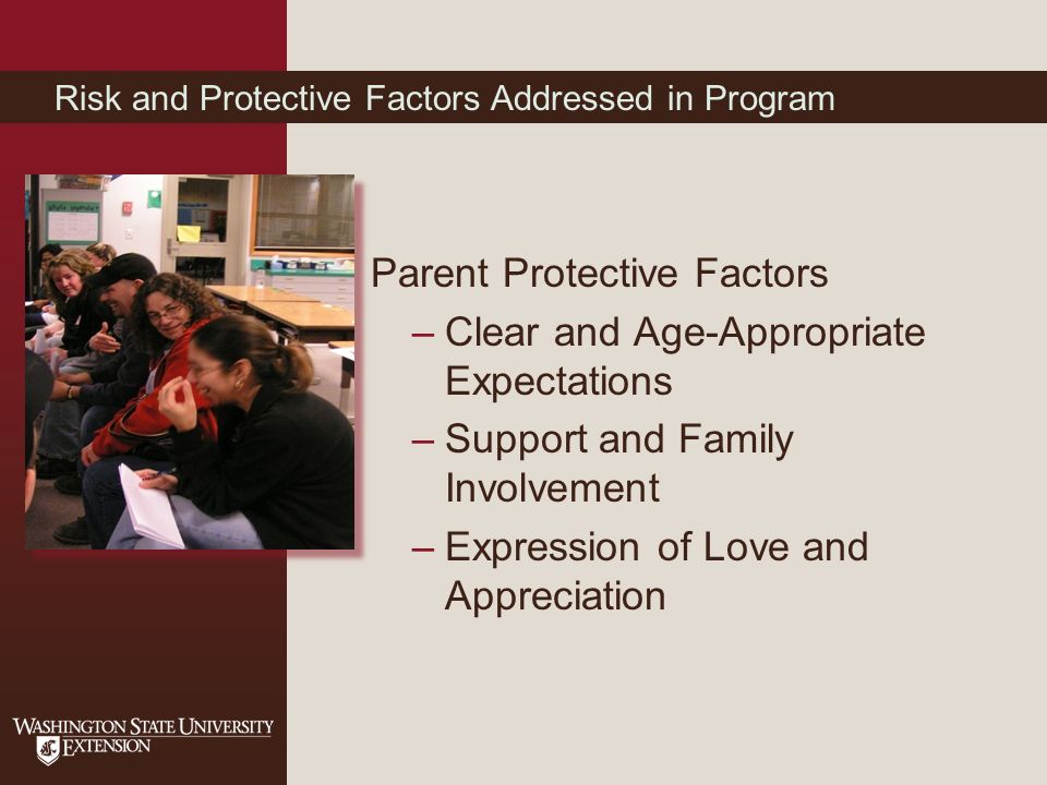 Parent Protective Factors –Clear and Age-Appropriate Expectations –Support and Family Involvement –Expression of Love and Appreciation Risk and Protective Factors Addressed in Program