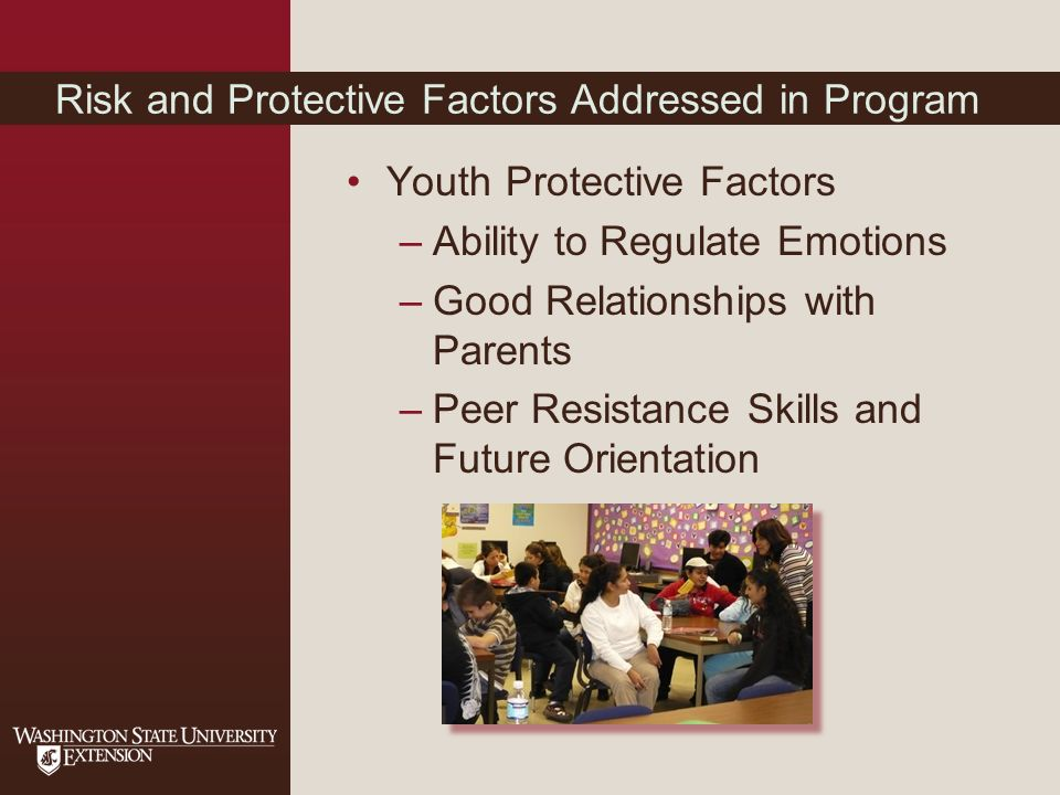 Risk and Protective Factors Addressed in Program Youth Protective Factors –Ability to Regulate Emotions –Good Relationships with Parents –Peer Resistance Skills and Future Orientation