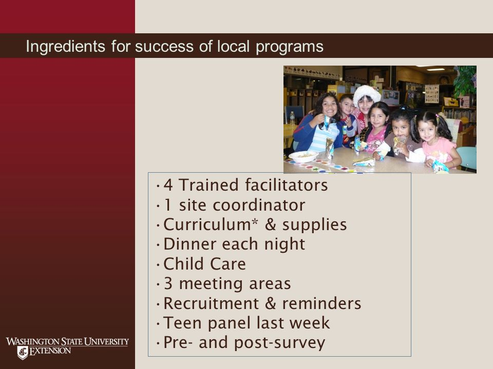 Ingredients for success of local programs 4 Trained facilitators 1 site coordinator Curriculum* & supplies Dinner each night Child Care 3 meeting areas Recruitment & reminders Teen panel last week Pre- and post-survey