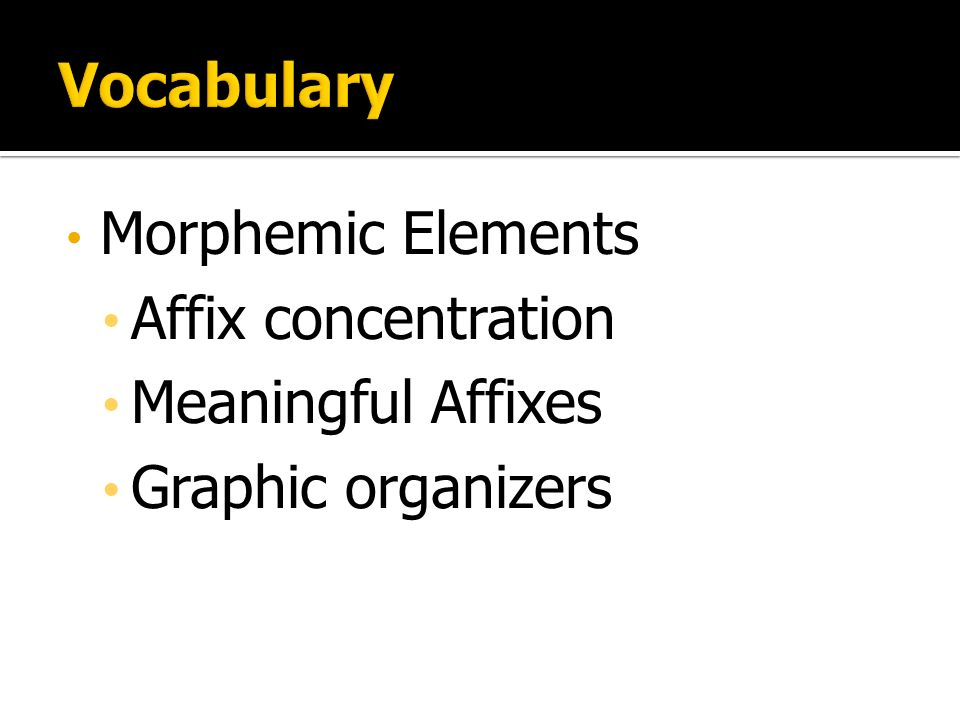 Morphemic Elements Affix concentration Meaningful Affixes Graphic organizers