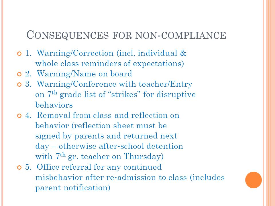 C ONSEQUENCES FOR NON - COMPLIANCE 1. Warning/Correction (incl.