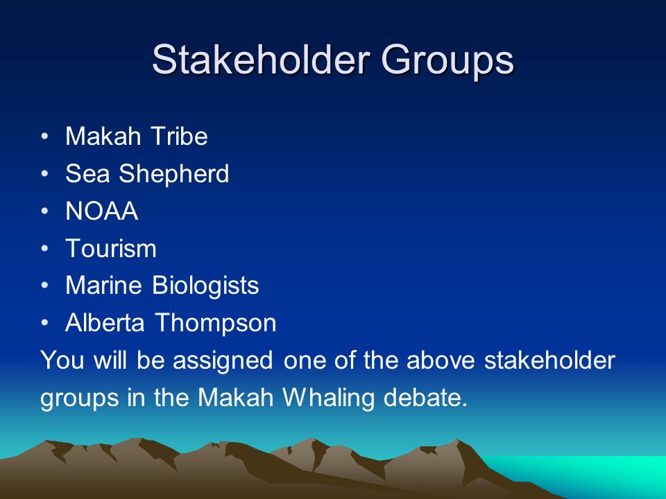 Stakeholder Groups Makah Tribe Sea Shepherd NOAA Tourism Marine Biologists Alberta Thompson You will be assigned one of the above stakeholder groups in the Makah Whaling debate.