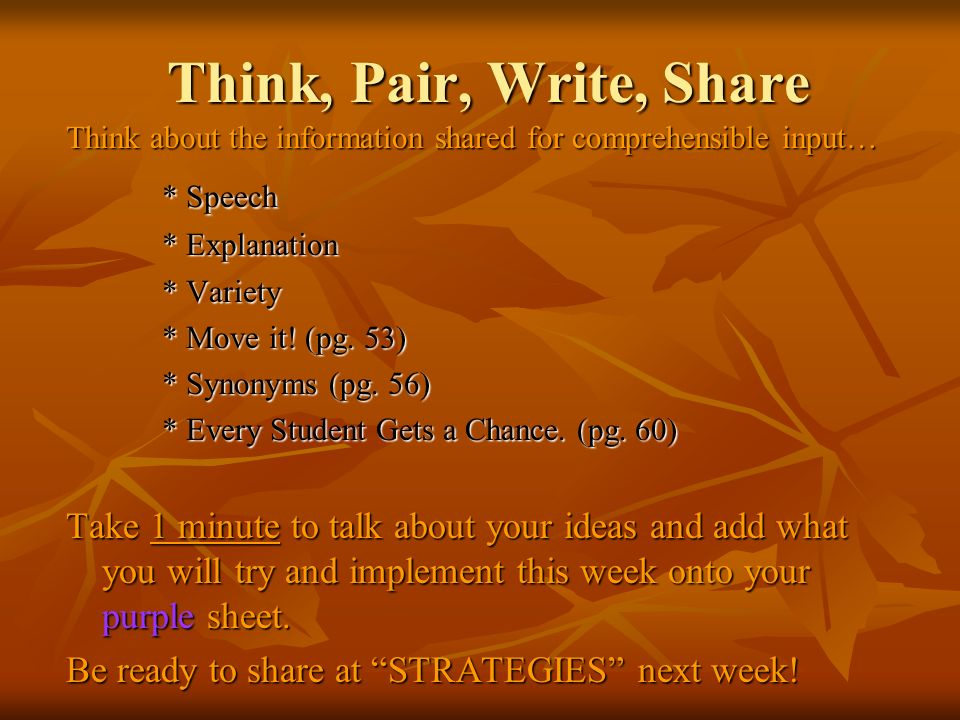 Think, Pair, Write, Share Think about the information shared for comprehensible input… * Speech * Explanation * Variety * Move it.