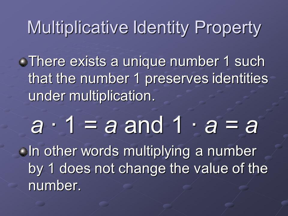 Additive Identity Property There exists a unique number 0 such that zero preserves identities under addition.
