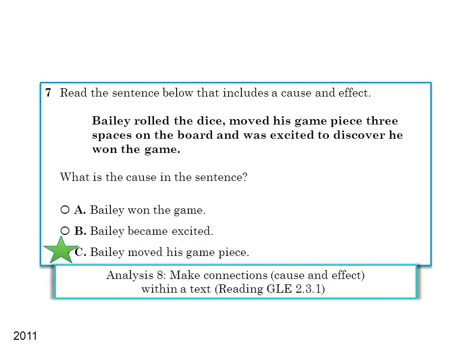 7 Read the sentence below that includes a cause and effect.