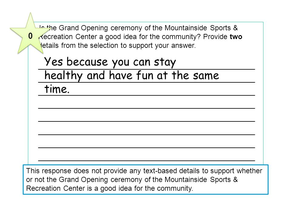 2 Is the Grand Opening ceremony of the Mountainside Sports & Recreation Center a good idea for the community.