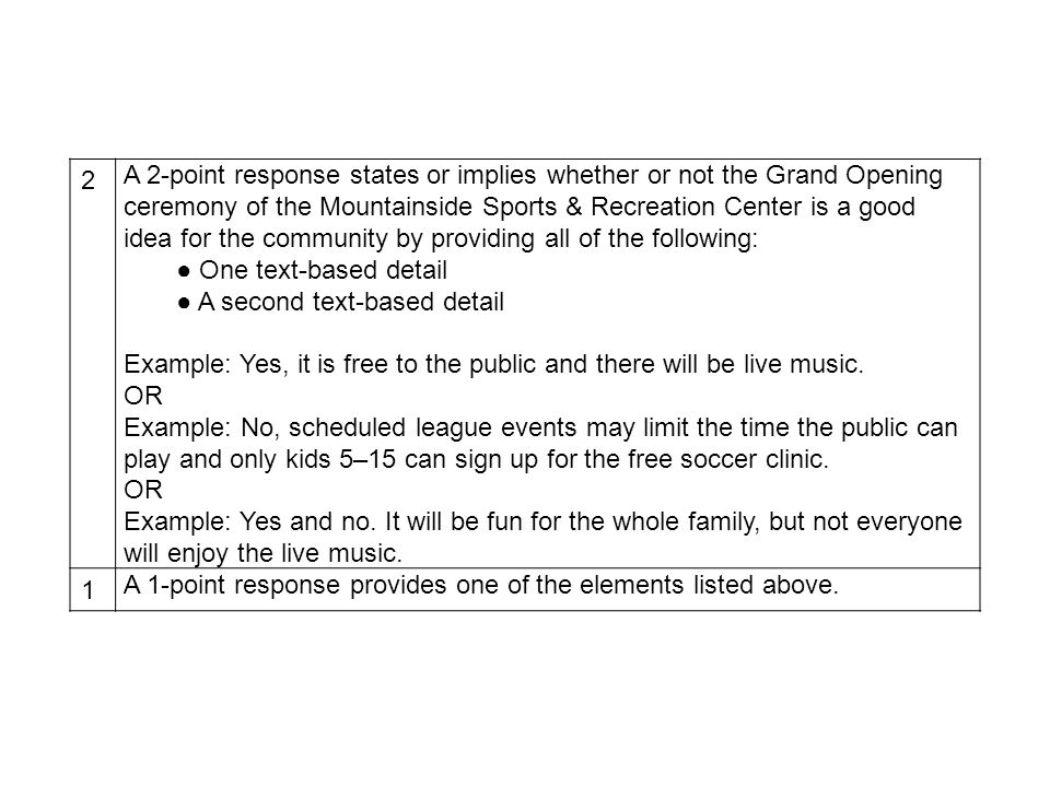 2 A 2-point response states or implies whether or not the Grand Opening ceremony of the Mountainside Sports & Recreation Center is a good idea for the community by providing all of the following: One text-based detail A second text-based detail Example: Yes, it is free to the public and there will be live music.