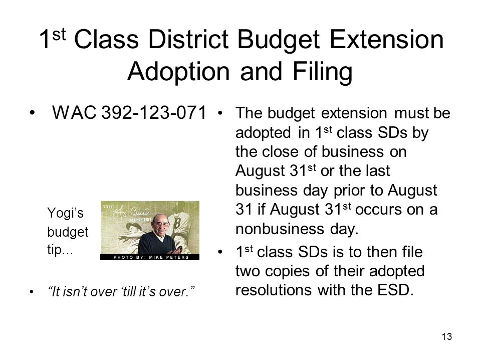 1 st Class District Budget Extension Adoption and Filing WAC 392-123-071 Yogis budget tip...