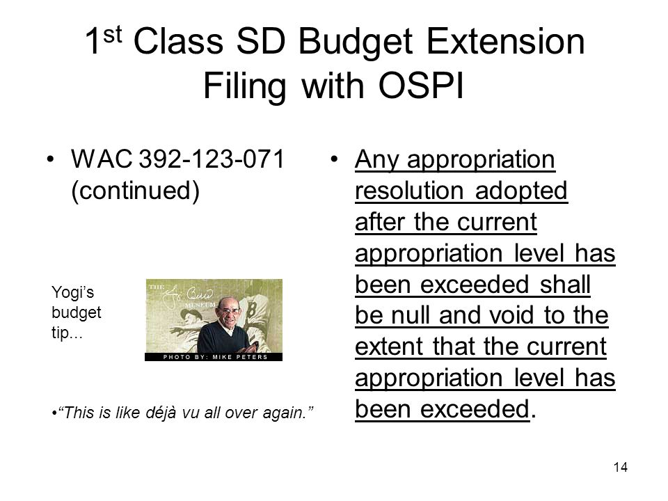 1 st Class SD Budget Extension Filing with OSPI WAC 392-123-071 (continued) Any appropriation resolution adopted after the current appropriation level has been exceeded shall be null and void to the extent that the current appropriation level has been exceeded.