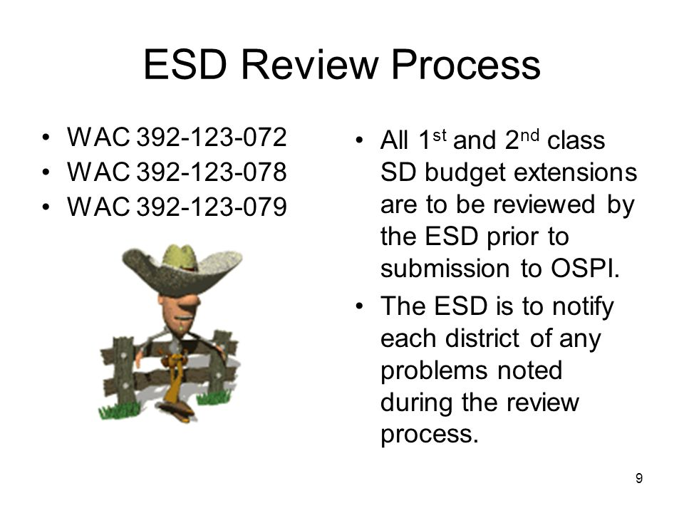 ESD Review Process WAC 392-123-072 WAC 392-123-078 WAC 392-123-079 All 1 st and 2 nd class SD budget extensions are to be reviewed by the ESD prior to submission to OSPI.