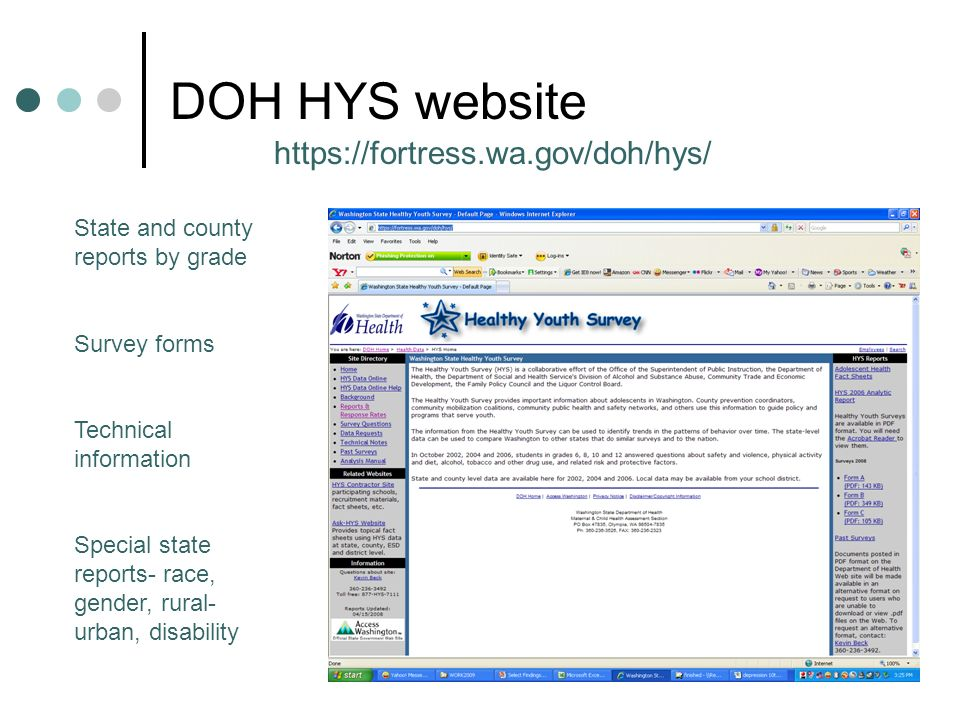 DOH HYS website https://fortress.wa.gov/doh/hys/ State and county reports by grade Survey forms Technical information Special state reports- race, gender, rural- urban, disability