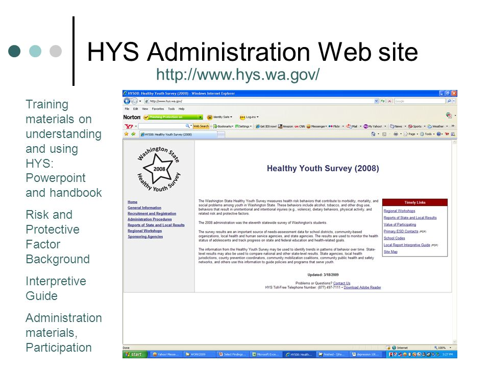 HYS Administration Web site http://www.hys.wa.gov/ Training materials on understanding and using HYS: Powerpoint and handbook Risk and Protective Factor Background Interpretive Guide Administration materials, Participation