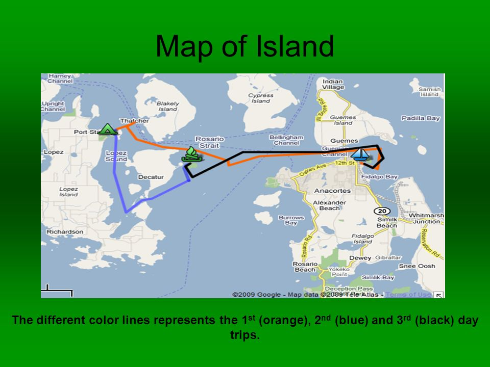 Map of Island The different color lines represents the 1 st (orange), 2 nd (blue) and 3 rd (black) day trips.