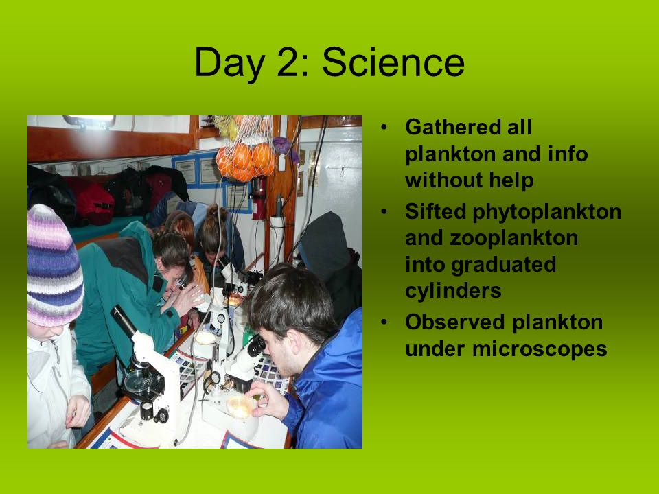 Day 2: Science Gathered all plankton and info without help Sifted phytoplankton and zooplankton into graduated cylinders Observed plankton under microscopes