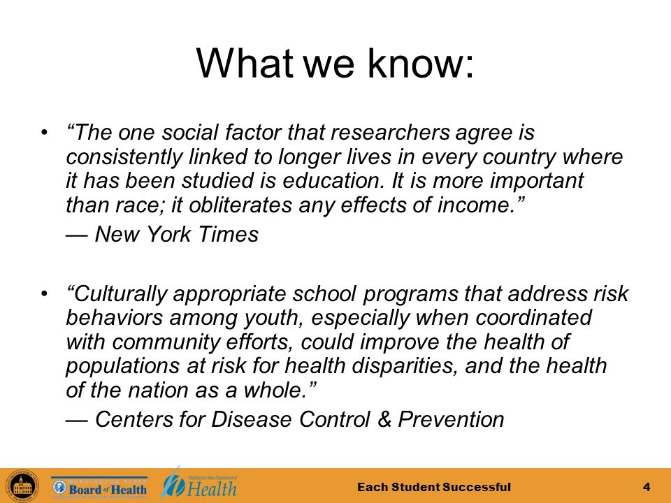 Each Student Successful4 What we know: The one social factor that researchers agree is consistently linked to longer lives in every country where it has been studied is education.
