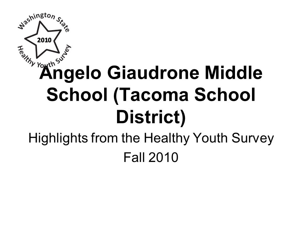 Angelo Giaudrone Middle School (Tacoma School District) Highlights from the Healthy Youth Survey Fall 2010