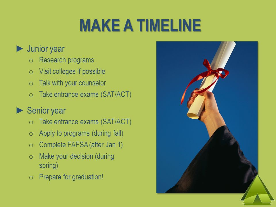 MAKE A TIMELINE Junior year o Research programs o Visit colleges if possible o Talk with your counselor o Take entrance exams (SAT/ACT) Senior year o Take entrance exams (SAT/ACT) o Apply to programs (during fall) o Complete FAFSA (after Jan 1) o Make your decision (during spring) o Prepare for graduation!
