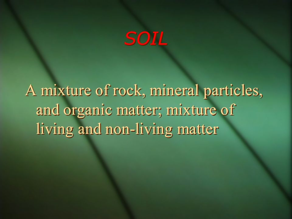 SOIL A mixture of rock, mineral particles, and organic matter; mixture of living and non-living matter