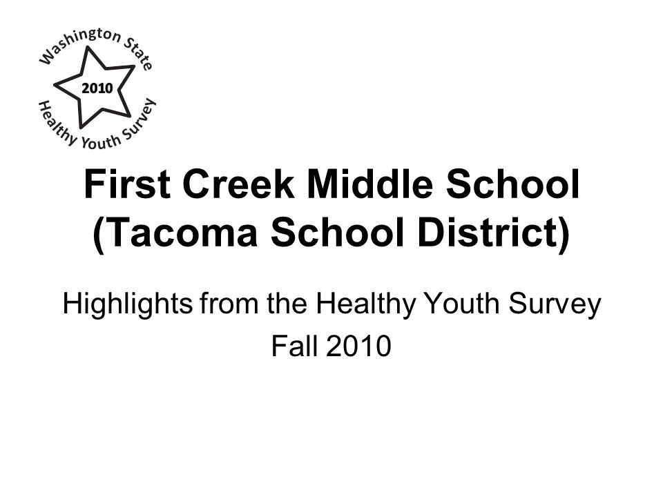 First Creek Middle School (Tacoma School District) Highlights from the Healthy Youth Survey Fall 2010
