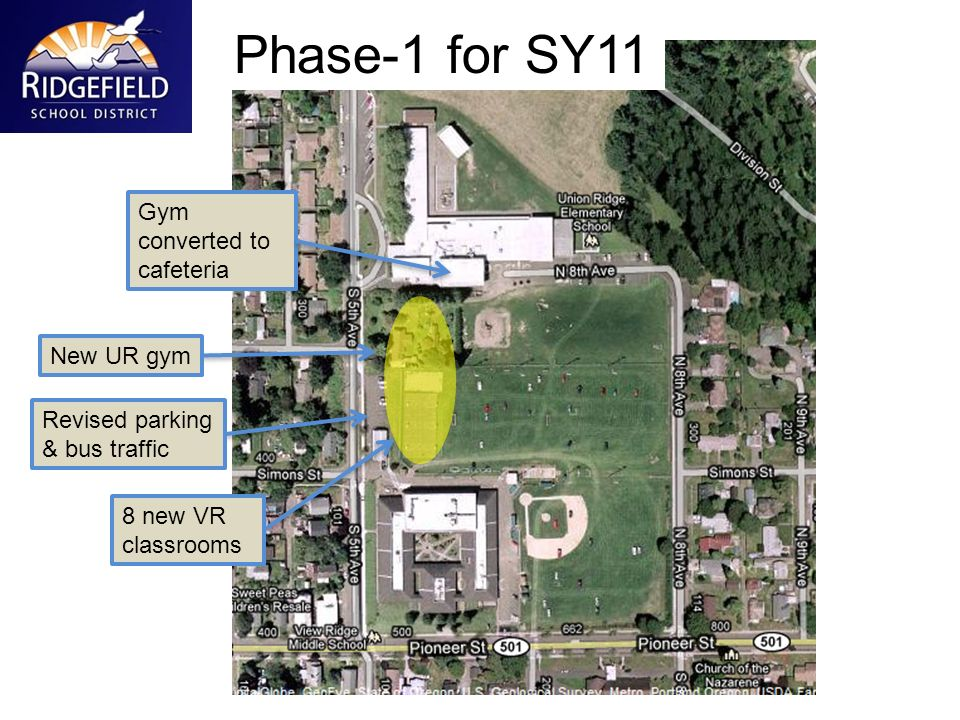 Gym converted to cafeteria New UR gym 8 new VR classrooms Phase-1 for SY11 Revised parking & bus traffic