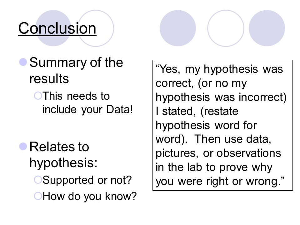 Conclusion Summary of the results This needs to include your Data.