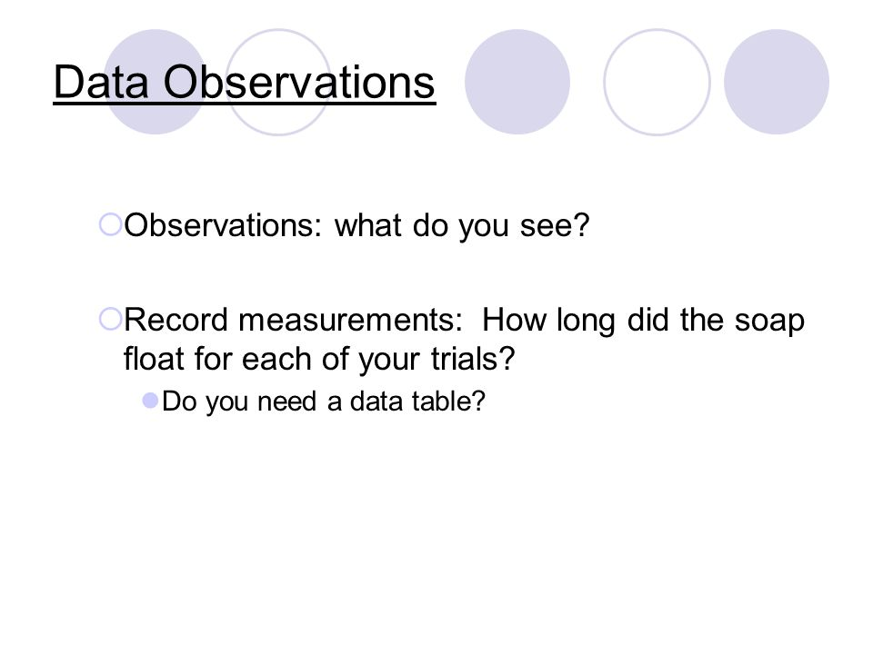 Data Observations Observations: what do you see.