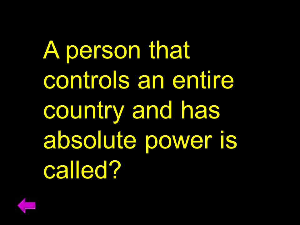 A person that controls an entire country and has absolute power is called