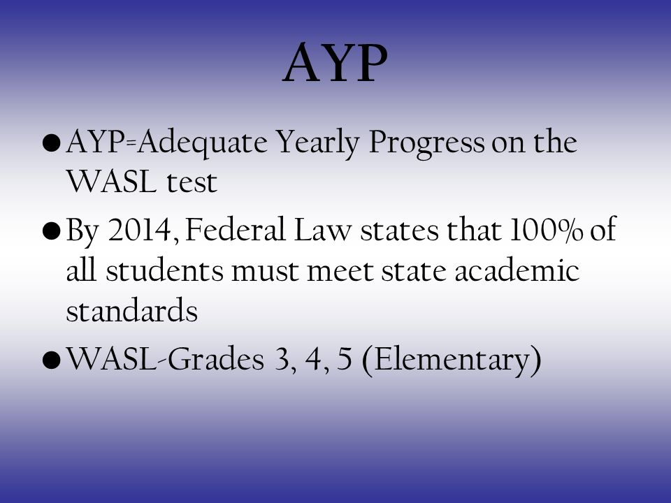 AYP AYP=Adequate Yearly Progress on the WASL test By 2014, Federal Law states that 100% of all students must meet state academic standards WASL-Grades 3, 4, 5 (Elementary)