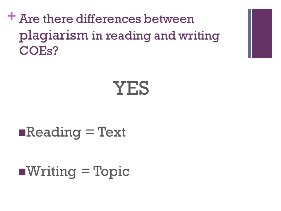 + Are there differences between plagiarism in reading and writing COEs.
