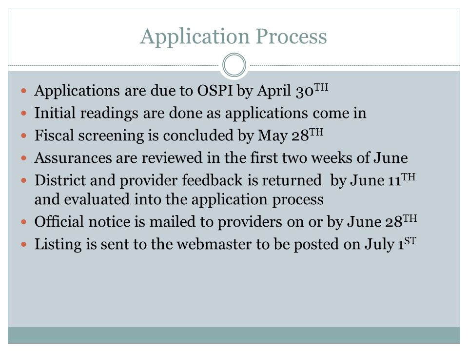 Application Process Applications are due to OSPI by April 30 TH Initial readings are done as applications come in Fiscal screening is concluded by May 28 TH Assurances are reviewed in the first two weeks of June District and provider feedback is returned by June 11 TH and evaluated into the application process Official notice is mailed to providers on or by June 28 TH Listing is sent to the webmaster to be posted on July 1 ST